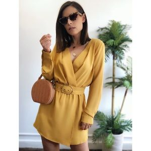 Pants - 🆕Freida Mustard Yellow Wrap Skirt Romper